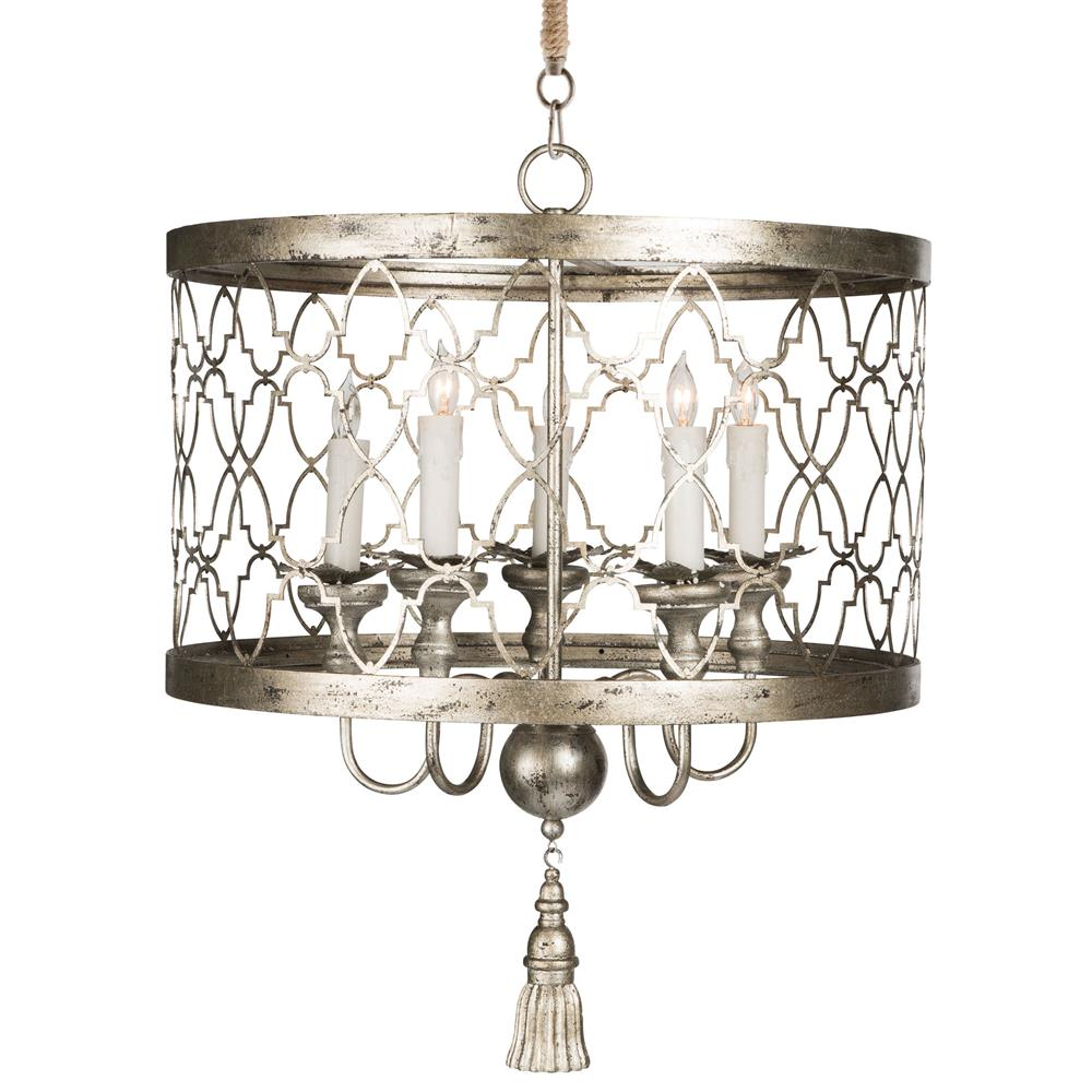 Ingrid Hollywood Regency Antique Silver 5 Light Chandelier | Kathy Kuo Home - Ingrid Hollywood Regency Antique Silver 5 Light Chandelier Kathy
