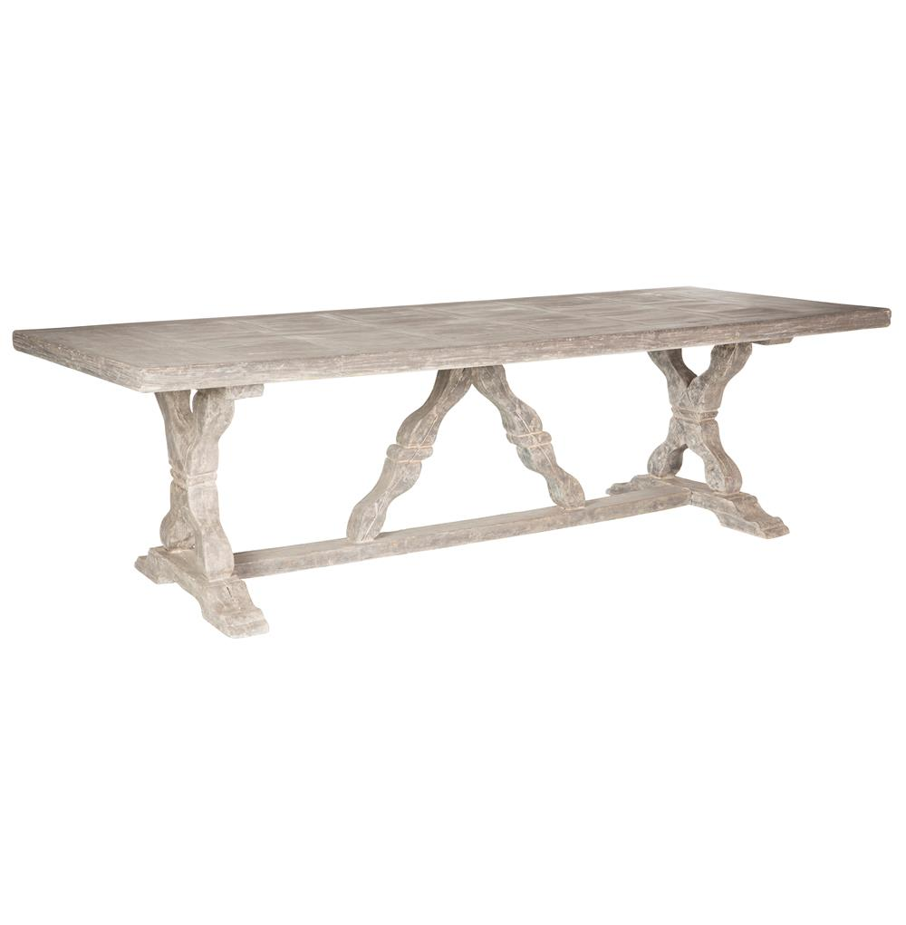 Ronald French Country Indoor Outdoor Distressed Grey Dining Table