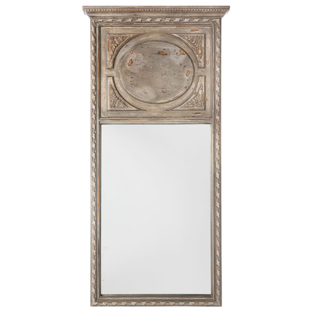 Suzette french country rustic vintage grey with brown for Rustic mirror