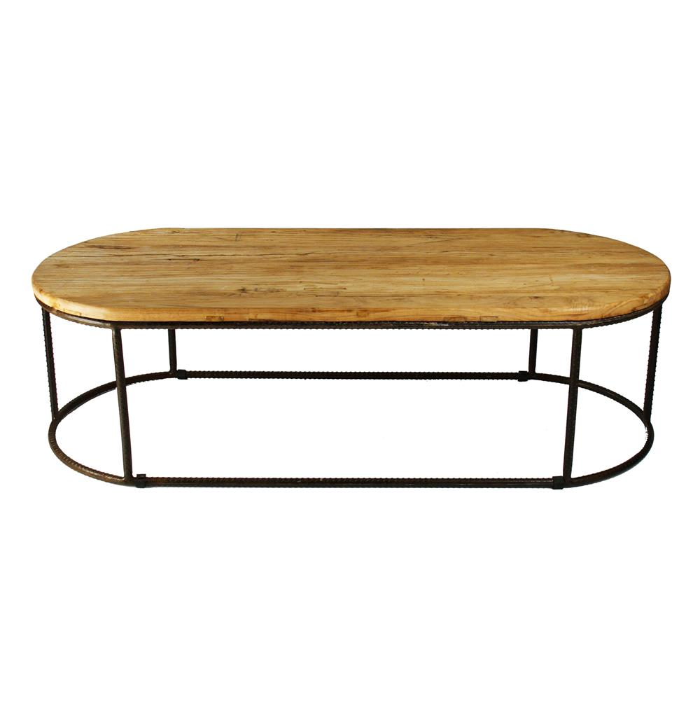 Urban Rustic Reclaimed Elm Rounded Coffee Table Kathy Kuo Home