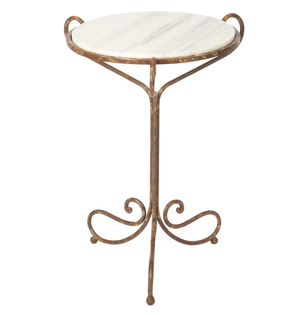 alexa hollywood regency rustic white marble end table kathy kuo home. Black Bedroom Furniture Sets. Home Design Ideas