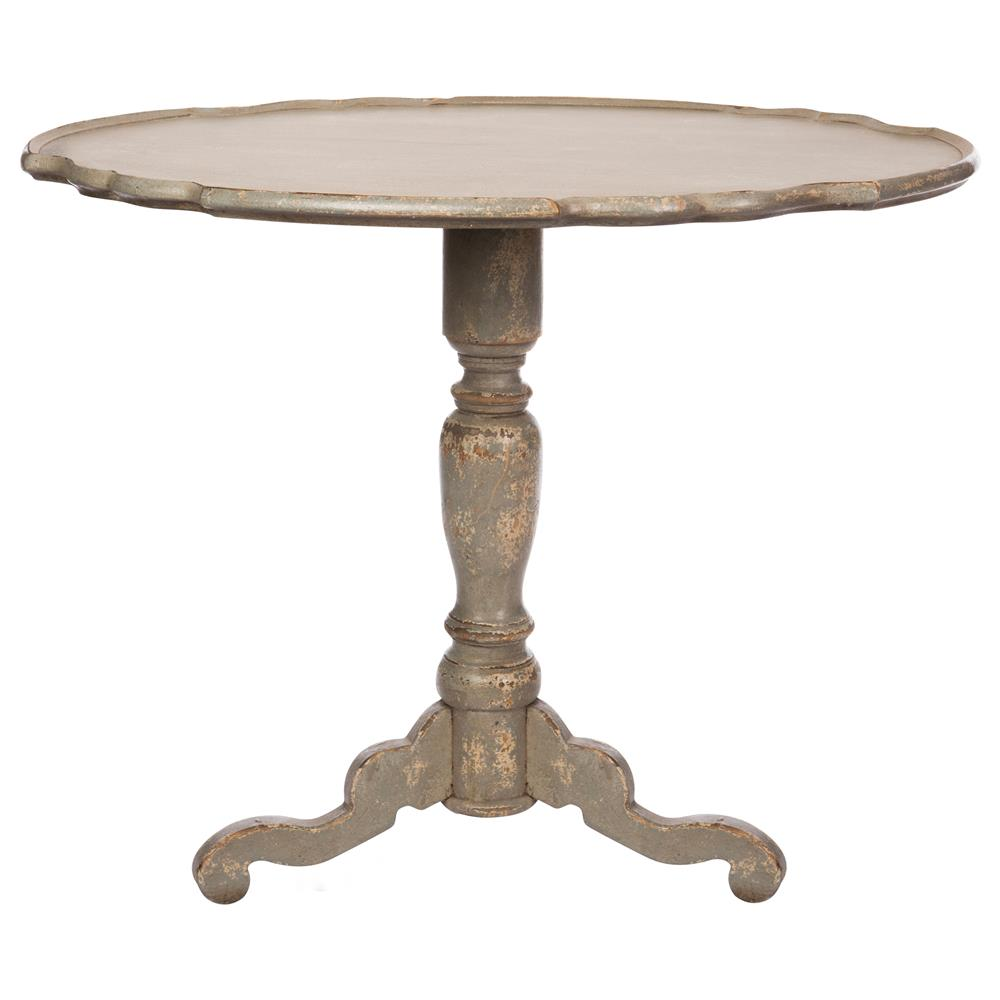 Klimt french country distressed grey wood pedestal side for Pedestal table