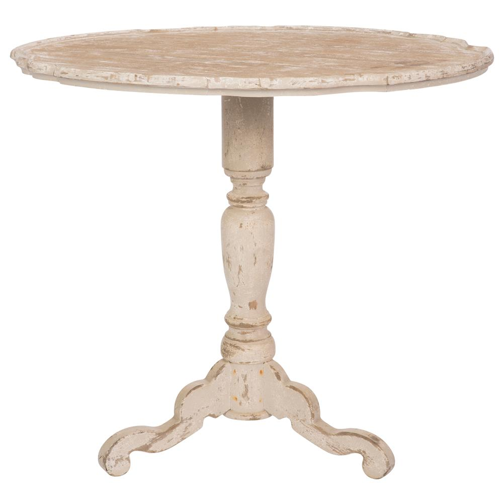 Klimt french country distressed white wood pedestal side table for Pedestal table