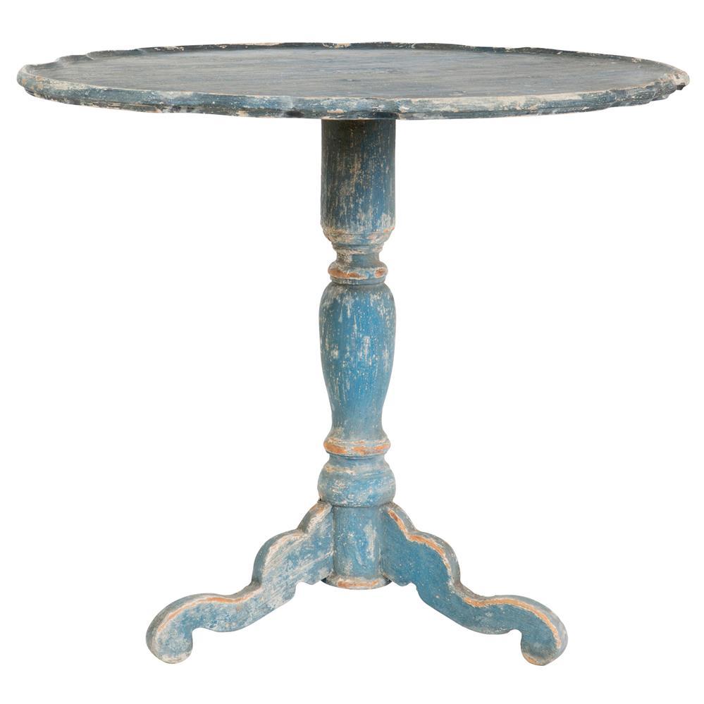 Klimt french country swedish blue wood pedestal side table for Pedestal side table