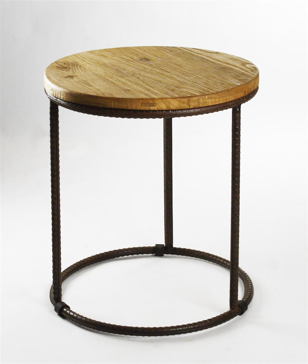 Urban rustic reclaimed wood round side table kathy kuo home for Rustic side table
