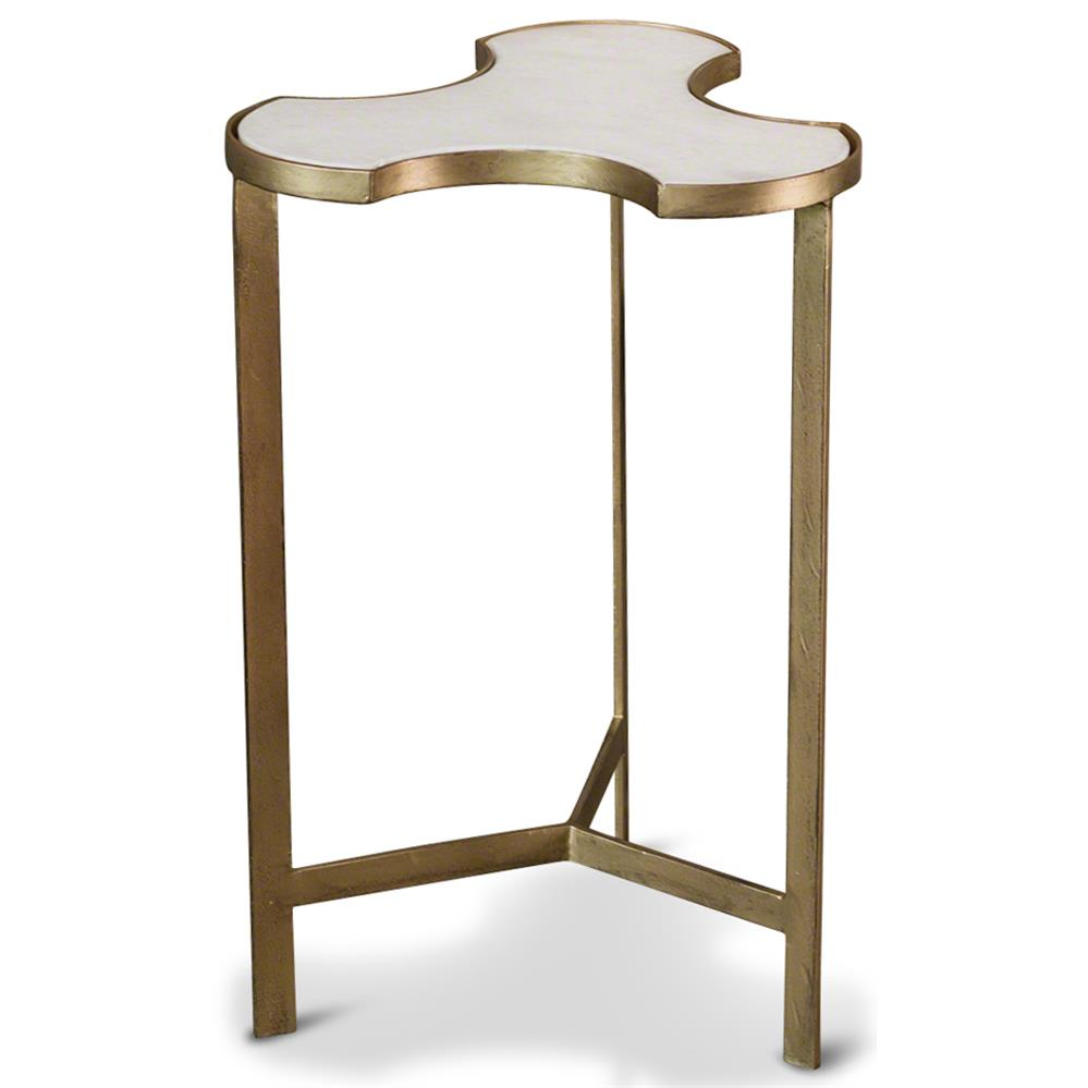 Abbey Jigsaw Bunching Table: Enigma Hollywood Regency Antique Gold White Marble Jigsaw