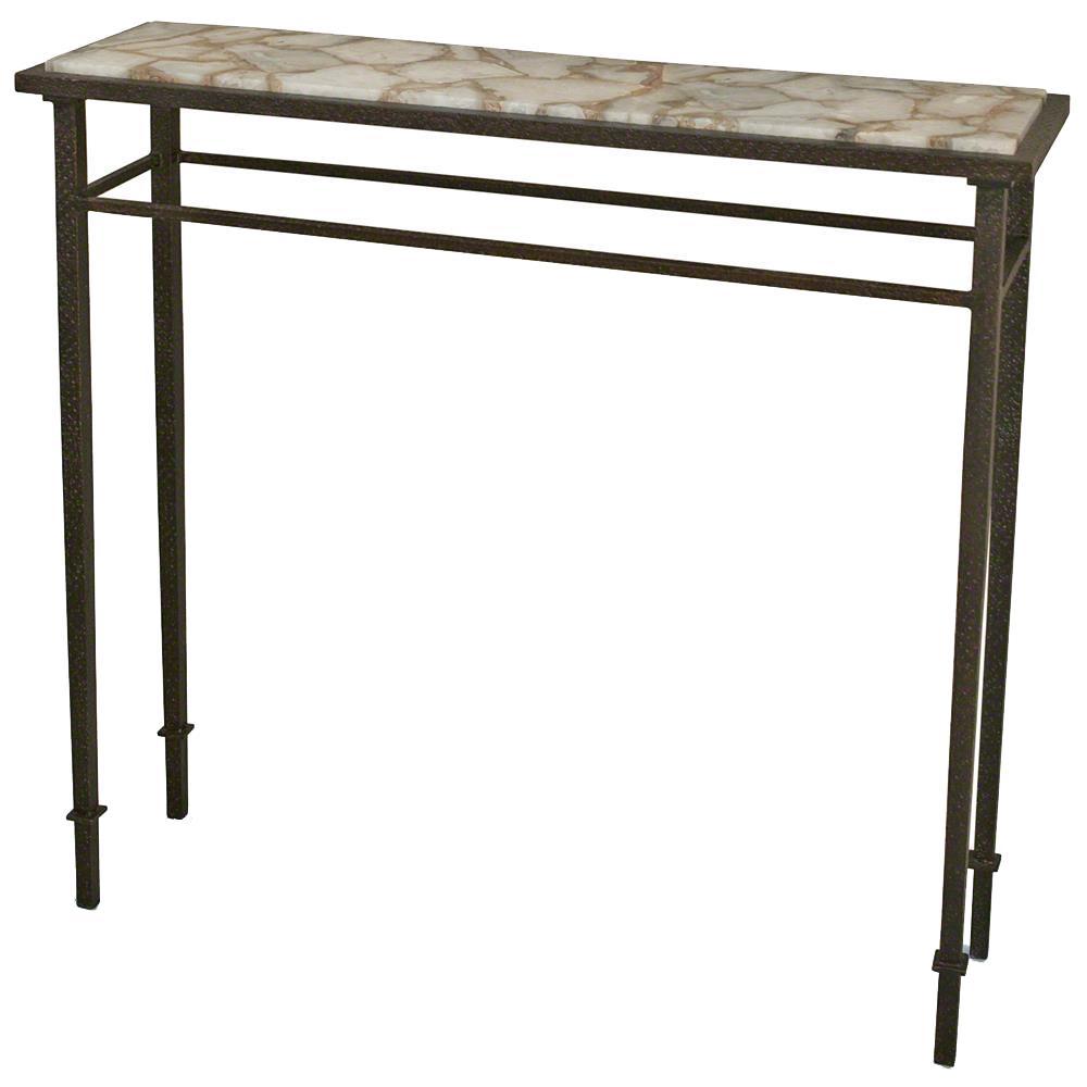 Stone Console Table: Vesuvio Global Bazaar Agate Stone Iron Console Table
