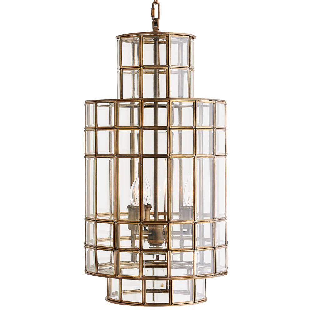 Corbett Lighting Party All Night: Dawson Hollywood Regency Brass Glass 3 Light Chandelier