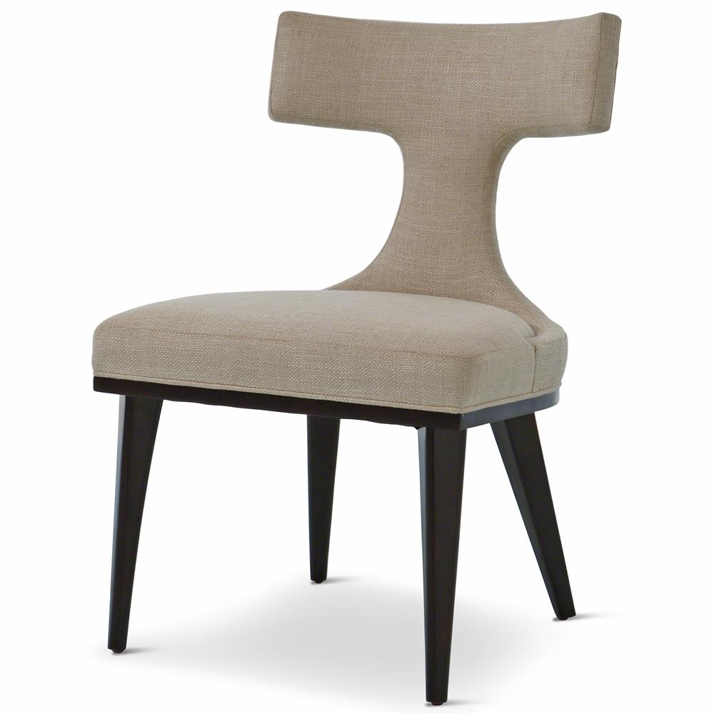 Truman modern classic oatmeal linen upholstered anvil for Upholstered dining chairs contemporary