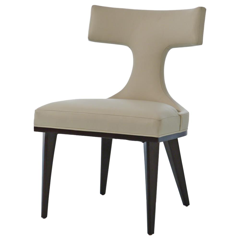 Truman modern classic ivory leather upholstered anvil for Upholstered dining chairs contemporary