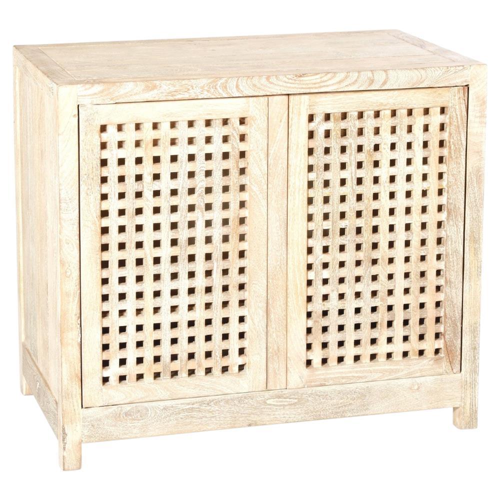 Kismet Coastal Beach Mango Driftwood Latticework 2 Door Cabinet | Kathy Kuo  Home ...