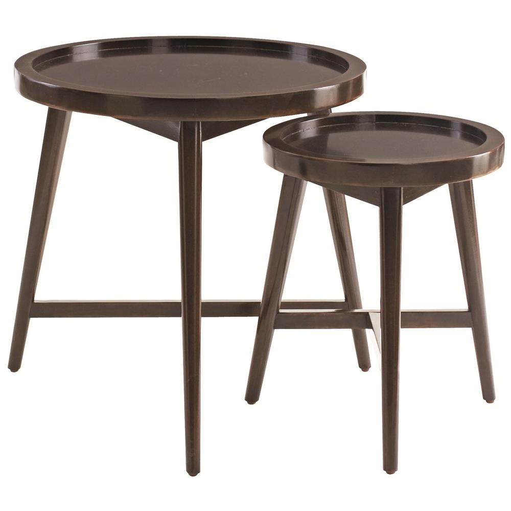 Junya rustic lodge molasses mahogany nesting side tables