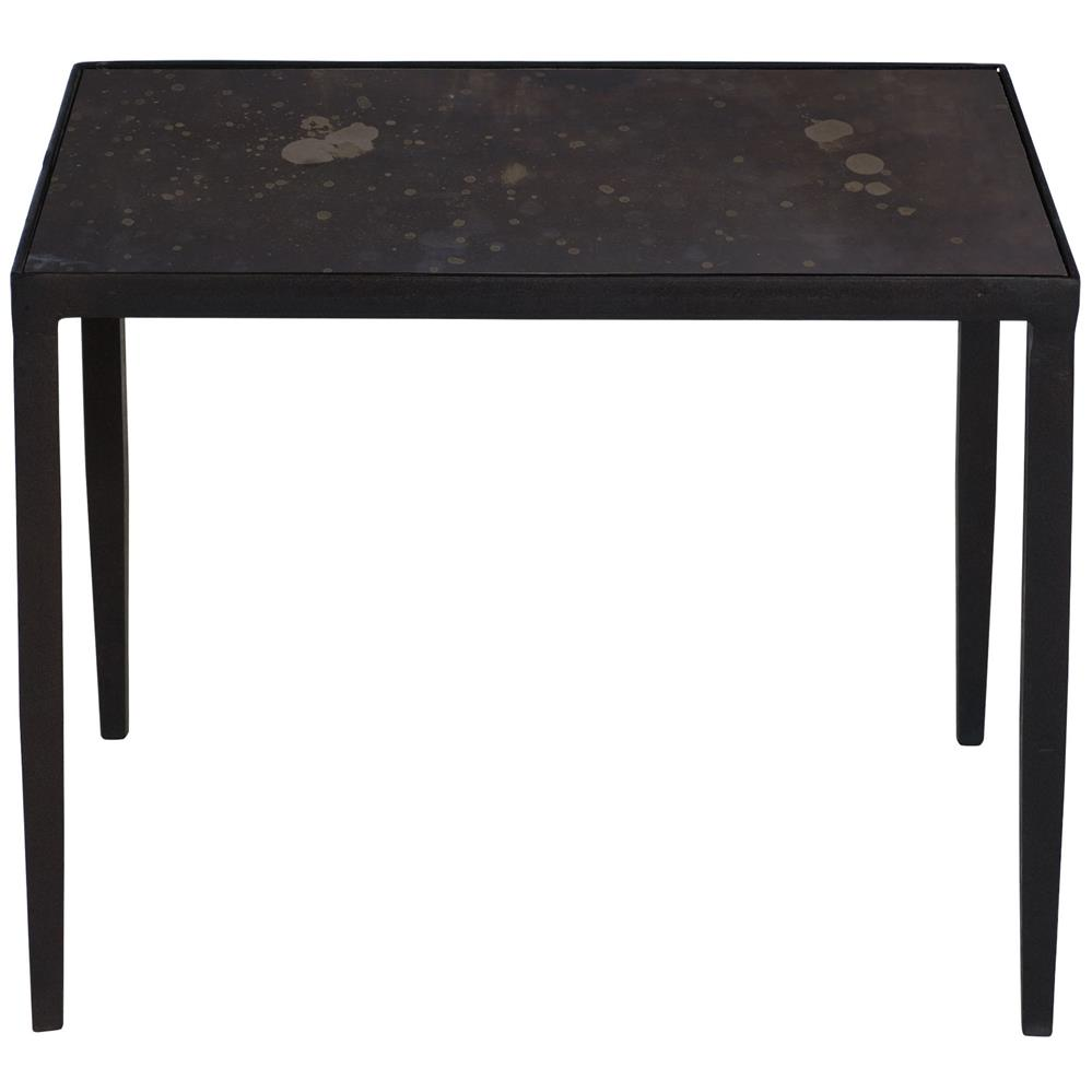 Rollins Industrial Loft Bronze Iron Coffee Table Kathy Kuo: Jacoby Industrial Loft Aged Iron Bronze Mirror Side End Table