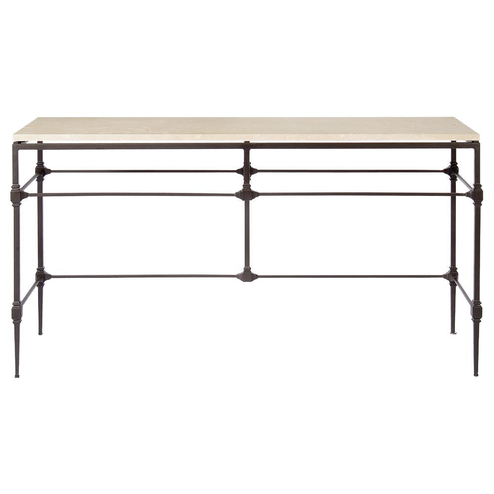Tory Modern Classic Honed Travertine Aged Iron Console Table | Kathy Kuo Home ...  sc 1 st  Kathy Kuo Home & Tory Modern Classic Honed Travertine Aged Iron Console Table