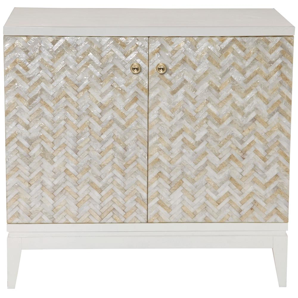 Eli Coastal Beach Herringbone Capiz Shell 2 Door Chest Cabinet Kathy Kuo Home