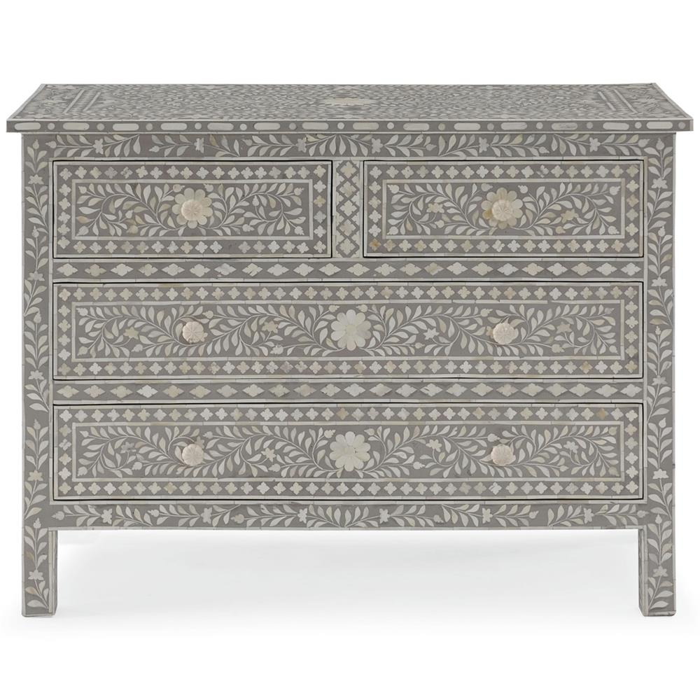aiden global bazaar grey and cream bone inlay 4 drawer dresser kathy kuo home
