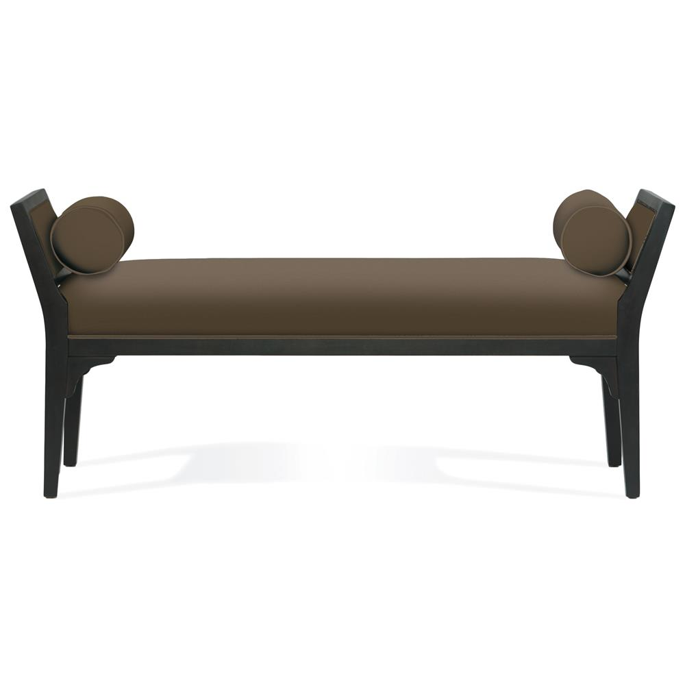 Cameron Modern Classic Brown Mocha Wood Bench Kathy Kuo Home