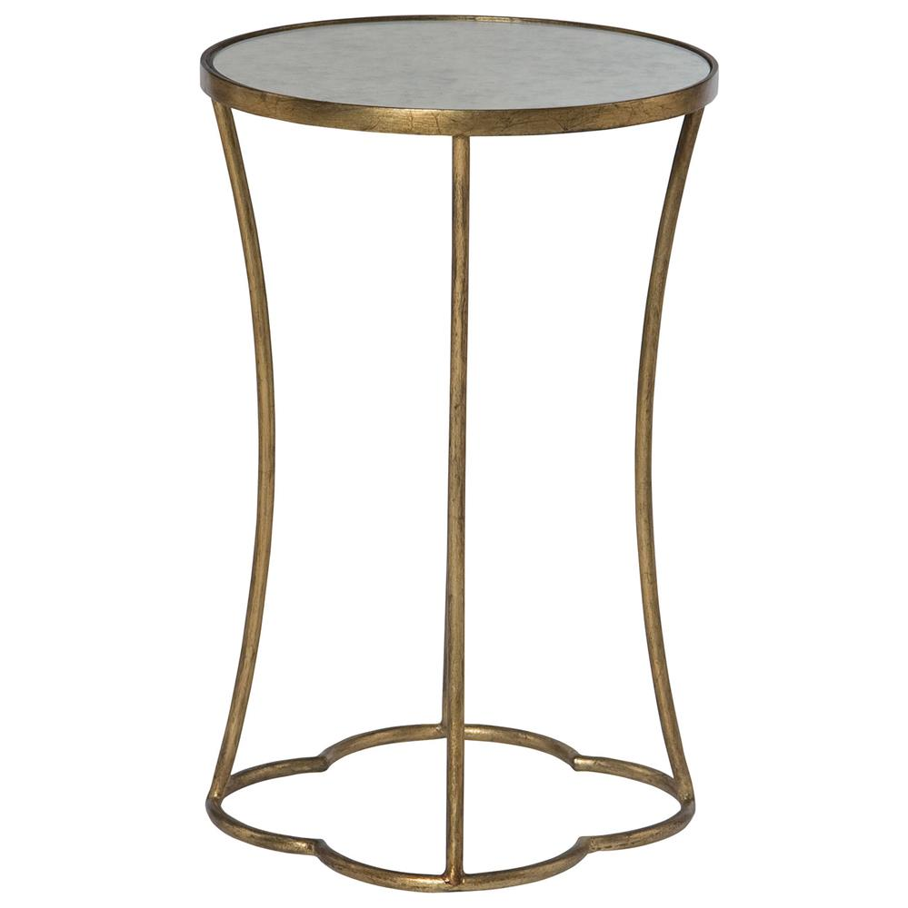 Great Clarissa Hollywood Regency Antique Mirror Gold Leaf Side Table | Kathy Kuo  Home