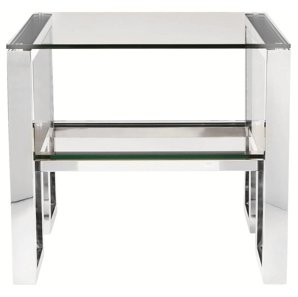 Yves Hollywood Regency Polished Stainless Steel Side End