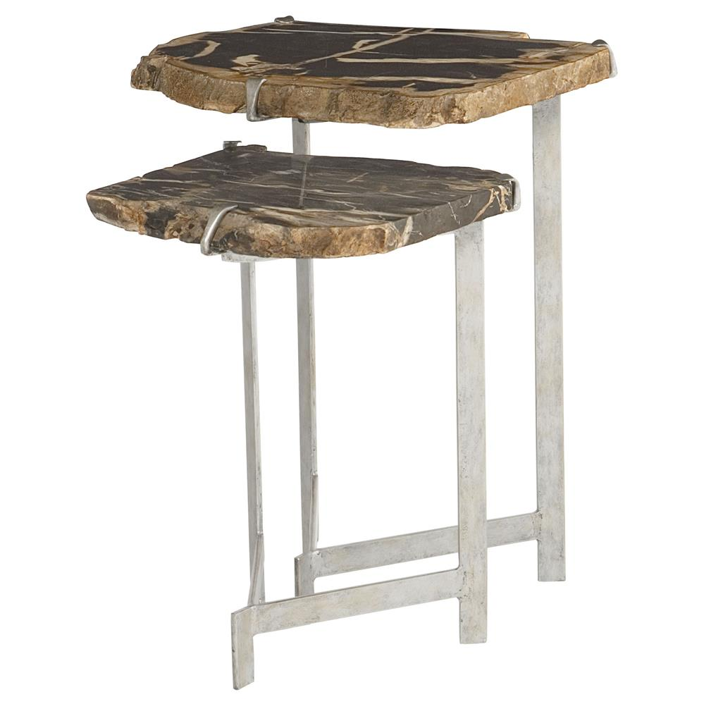 Wood Stacking Tables ~ Sybil industrial loft petrified wood nesting side tables