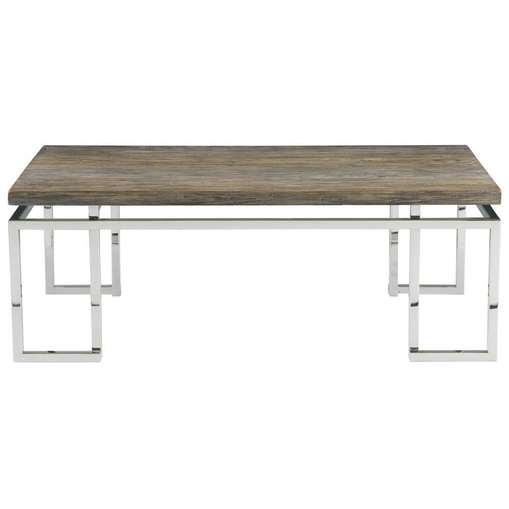 Rei Industrial Loft Grey Teak Wood Railroad Tie Coffee Table Kathy Kuo Home