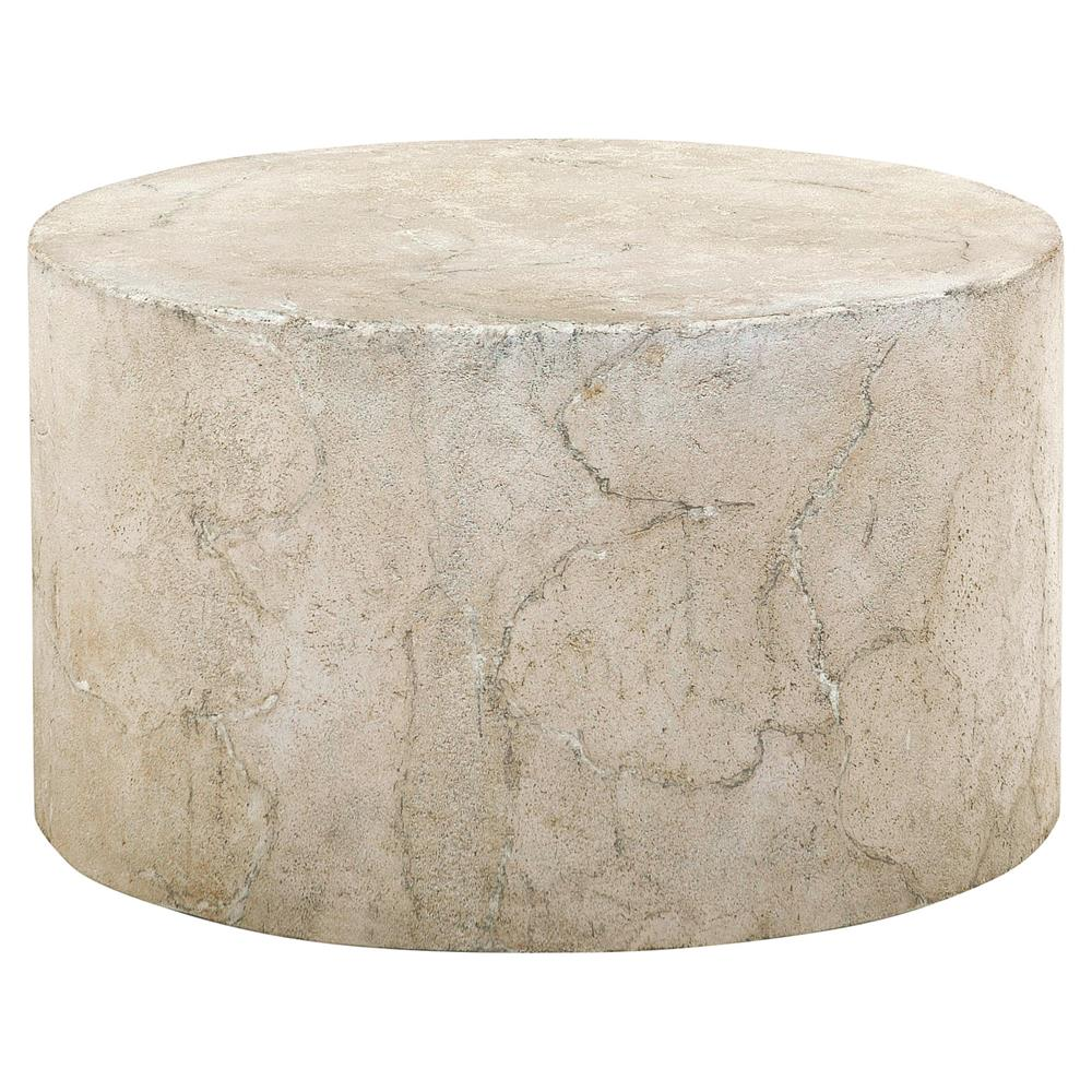 Osmond Industrial Round Limestone Concrete Coffee Table Kathy Kuo Home