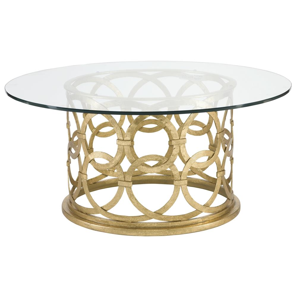 Antonia Hollywood Regency Round Gold Metal Coffee Table | Kathy Kuo Home - Antonia Hollywood Regency Round Gold Metal Coffee Table Kathy