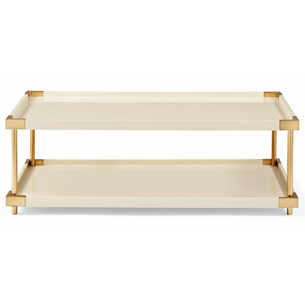 Elena hollywood regency ivory lacquer brass coffee table for Lacquer coffee table