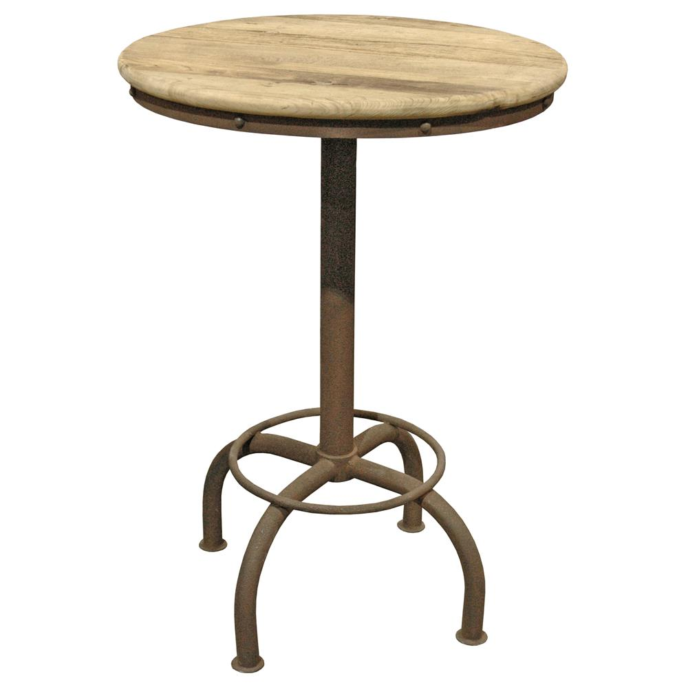clint industrial loft elm metal round dining bar table kathy kuo home. Black Bedroom Furniture Sets. Home Design Ideas