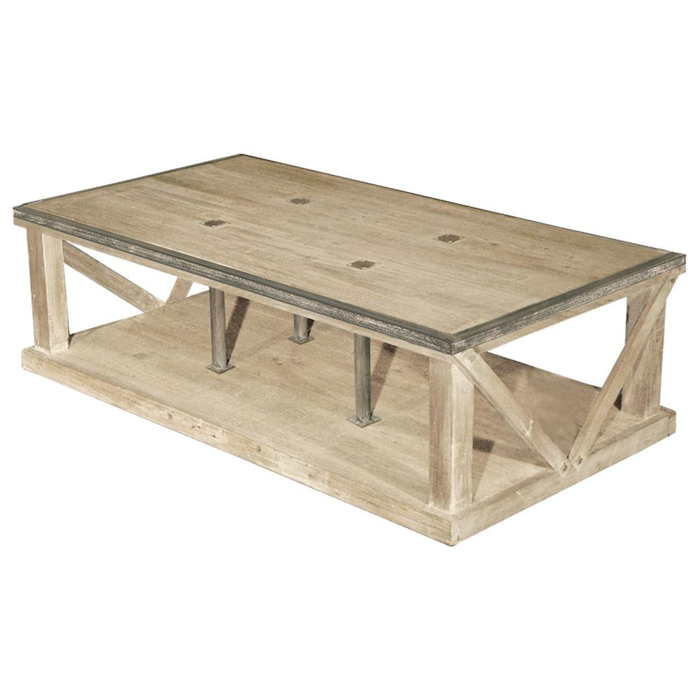 Forte French Country White Wash Reclaimed Pine Iron Coffee Table Kathy Kuo Home