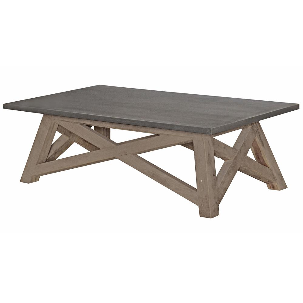 Vedel Industrial Loft Zinc Wood Rectangle Coffee Table