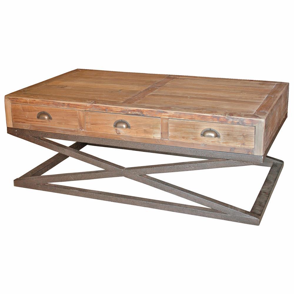Hansen Industrial Loft Reclaimed Wood Metal Base Drawers Coffee Table Kathy Kuo Home
