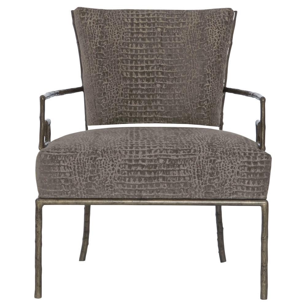 Kiefer Hollywood Regency Grey Alligator Fabric Metal Armchair | Kathy Kuo  Home ...