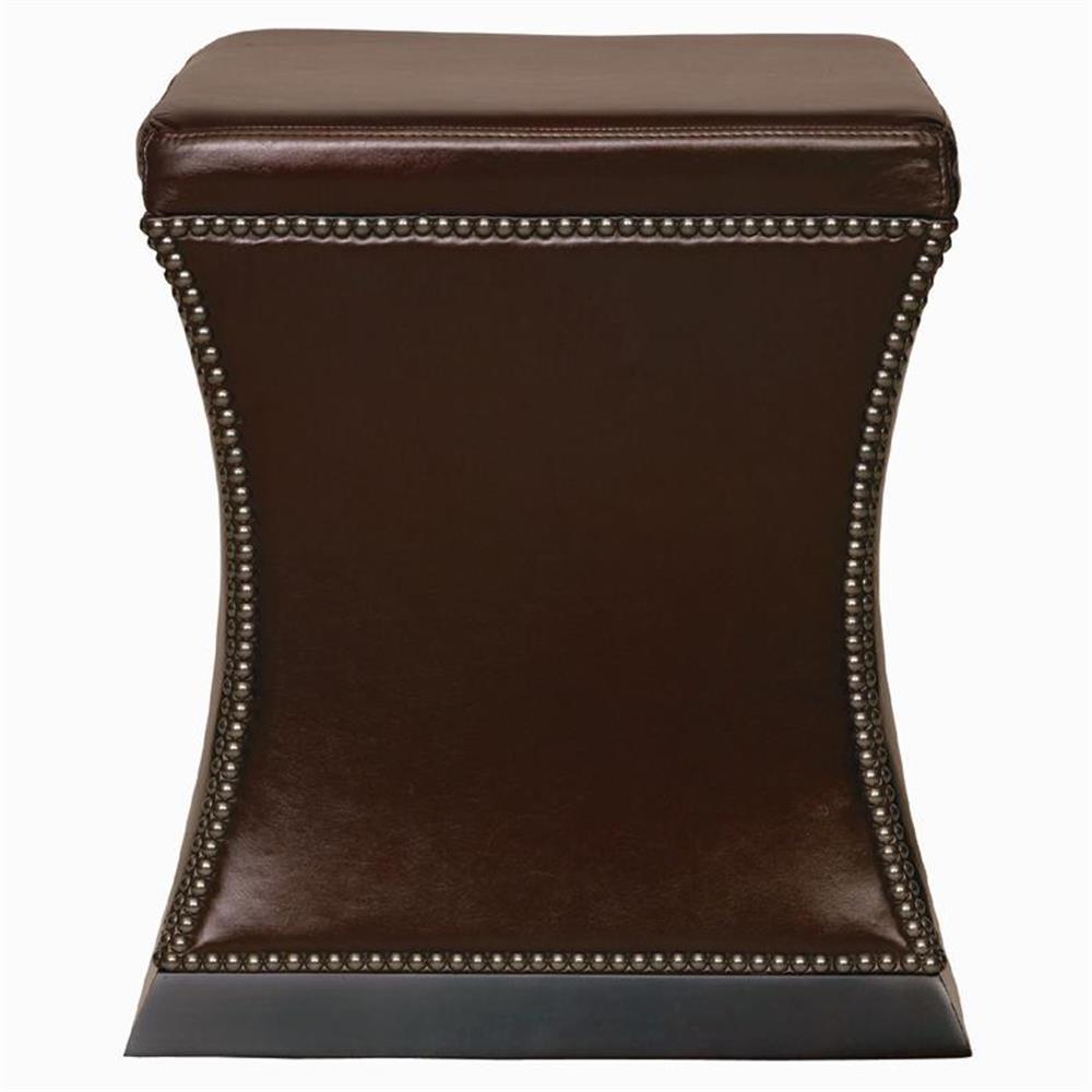 Eliana Hollywood Regency Antique Nickel Brown Leather