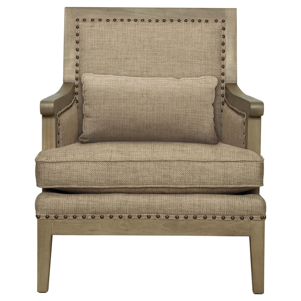 Kira French Country Driftwood Antique Brass Beige Armchair | Kathy Kuo Home