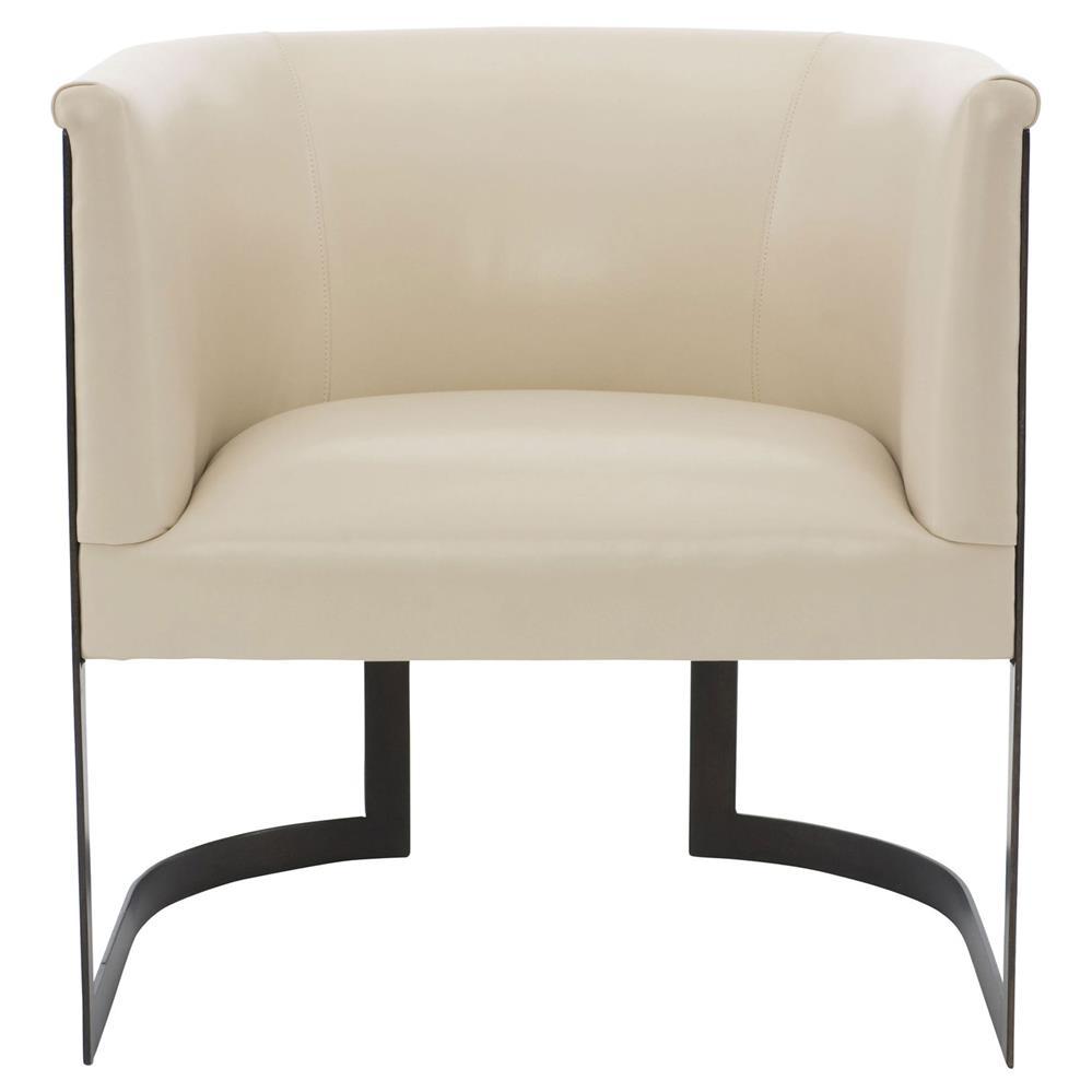 Maisie modern classic cream leather metal armchair kathy for Cream armchair