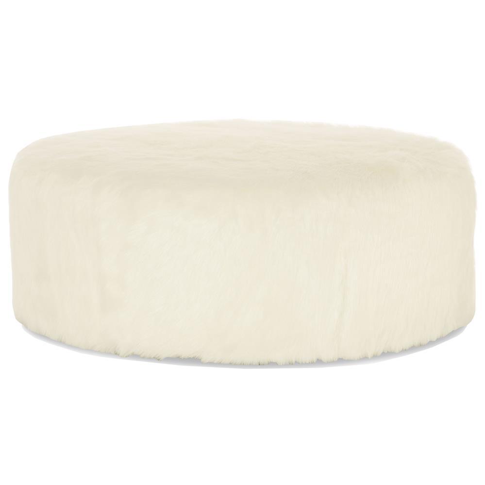 Eveline Hollywood Regency White Faux Fur Round Ottoman