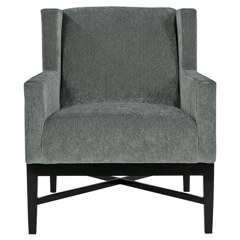 Hopper Modern Classic Mocha Wood Dark Grey Armchair   Kathy Kuo Home