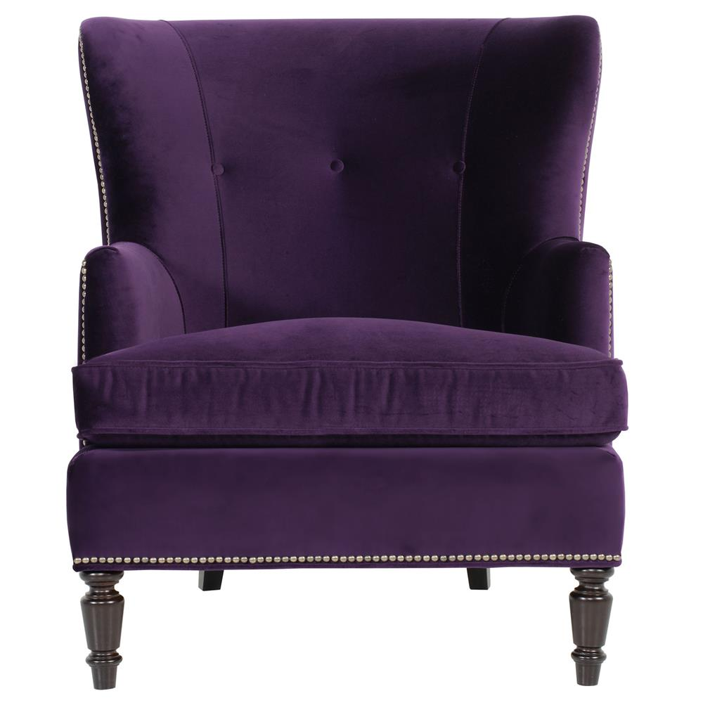 Nice Nia Hollywood Regency Antique Nickel Nailhead Purple Armchair | Kathy Kuo  Home ...