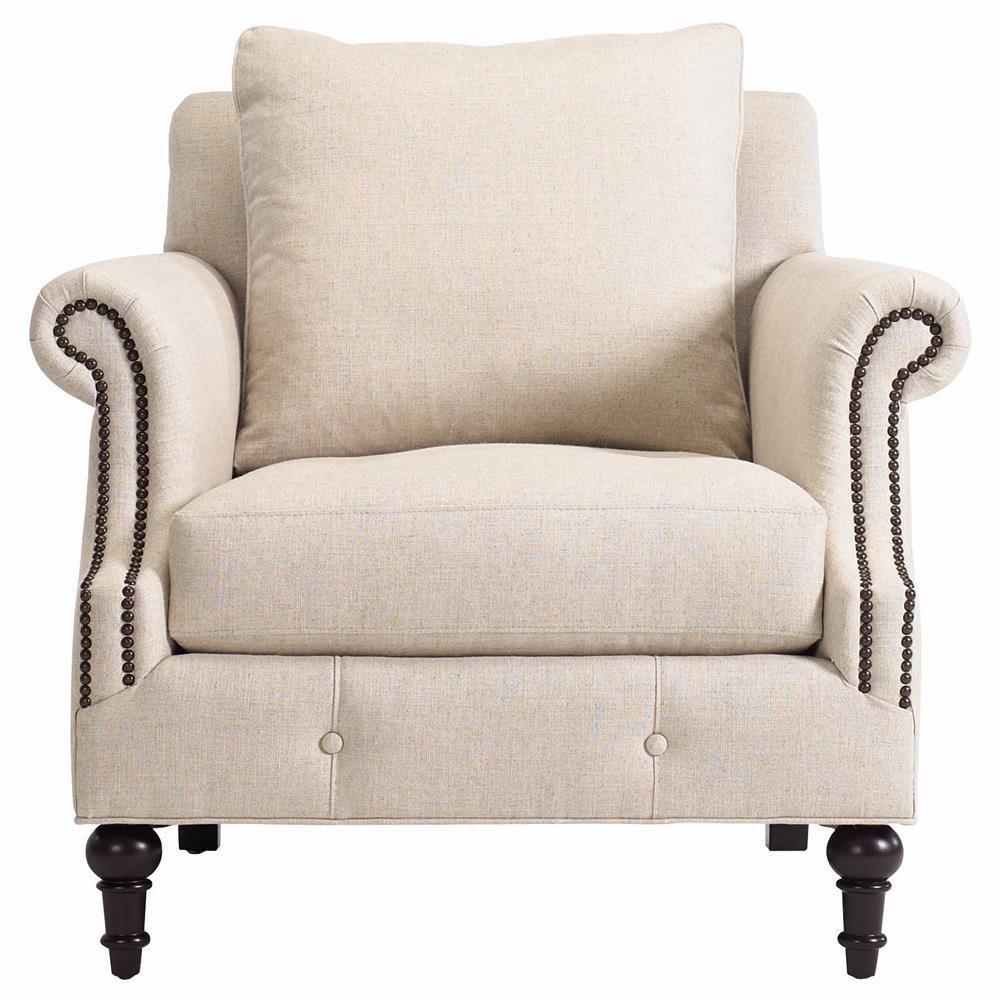 Modern classic armchair - Yani Modern Classic Dark Wood Antique Brass Beige Linen Armchair Kathy Kuo Home