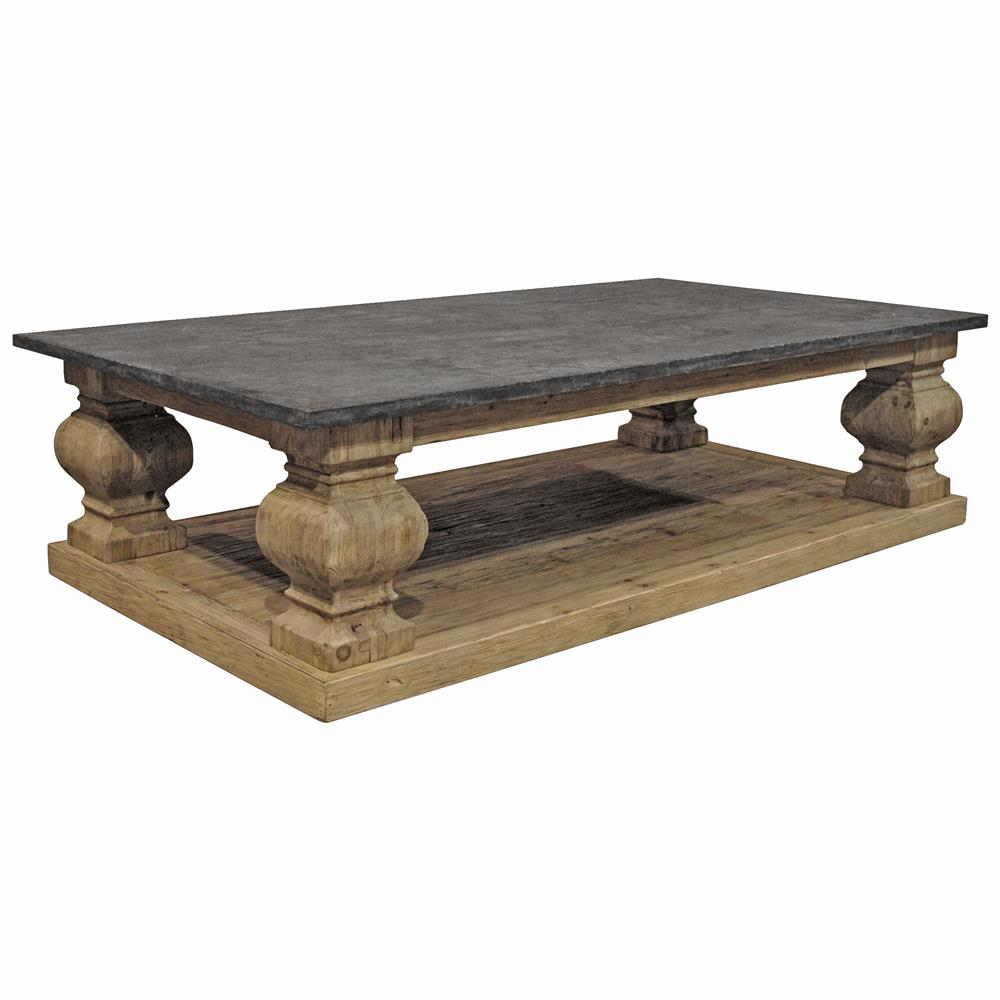 Desnos french country pine brown blue stone top coffee table kathy kuo home Stone top coffee table