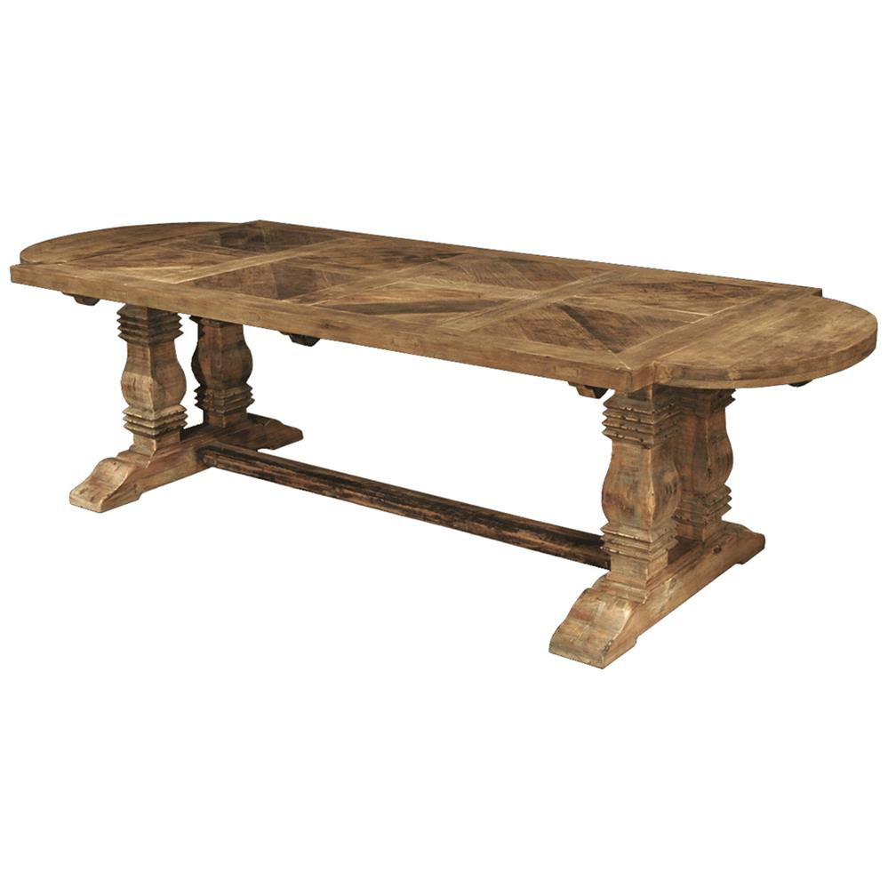 Esa French Country Reclaimed Pine Parquet Oval Dining Table Kathy