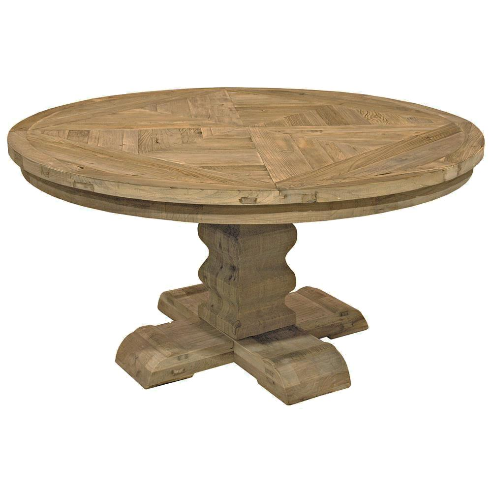 romand french country reclaimed elm parquet round dining table kathy kuo home. Black Bedroom Furniture Sets. Home Design Ideas