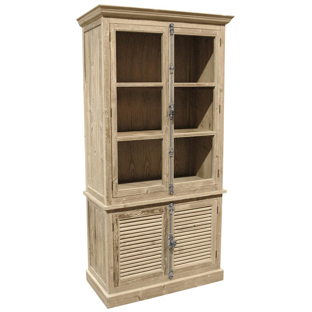 Dijon French Country White Wash Pine Plantation Shutter Doors Bookcase Kathy Kuo Home