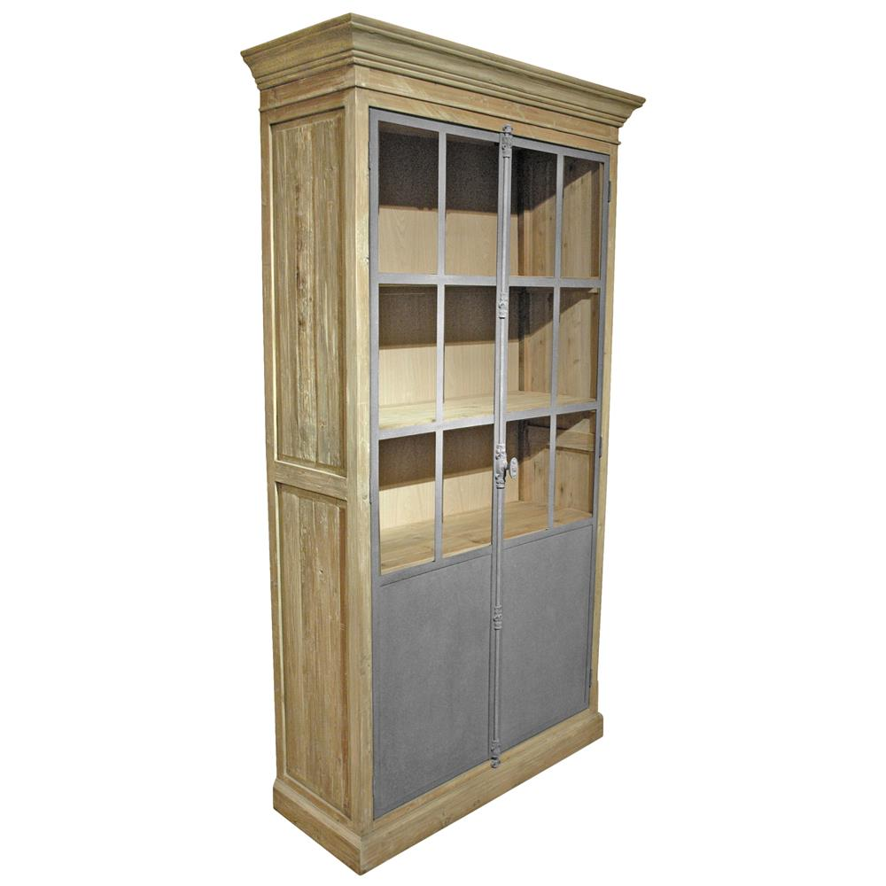 ... Loft Limed Wood Metal Closed Bookcase Cabinet  Kathy Kuo Home
