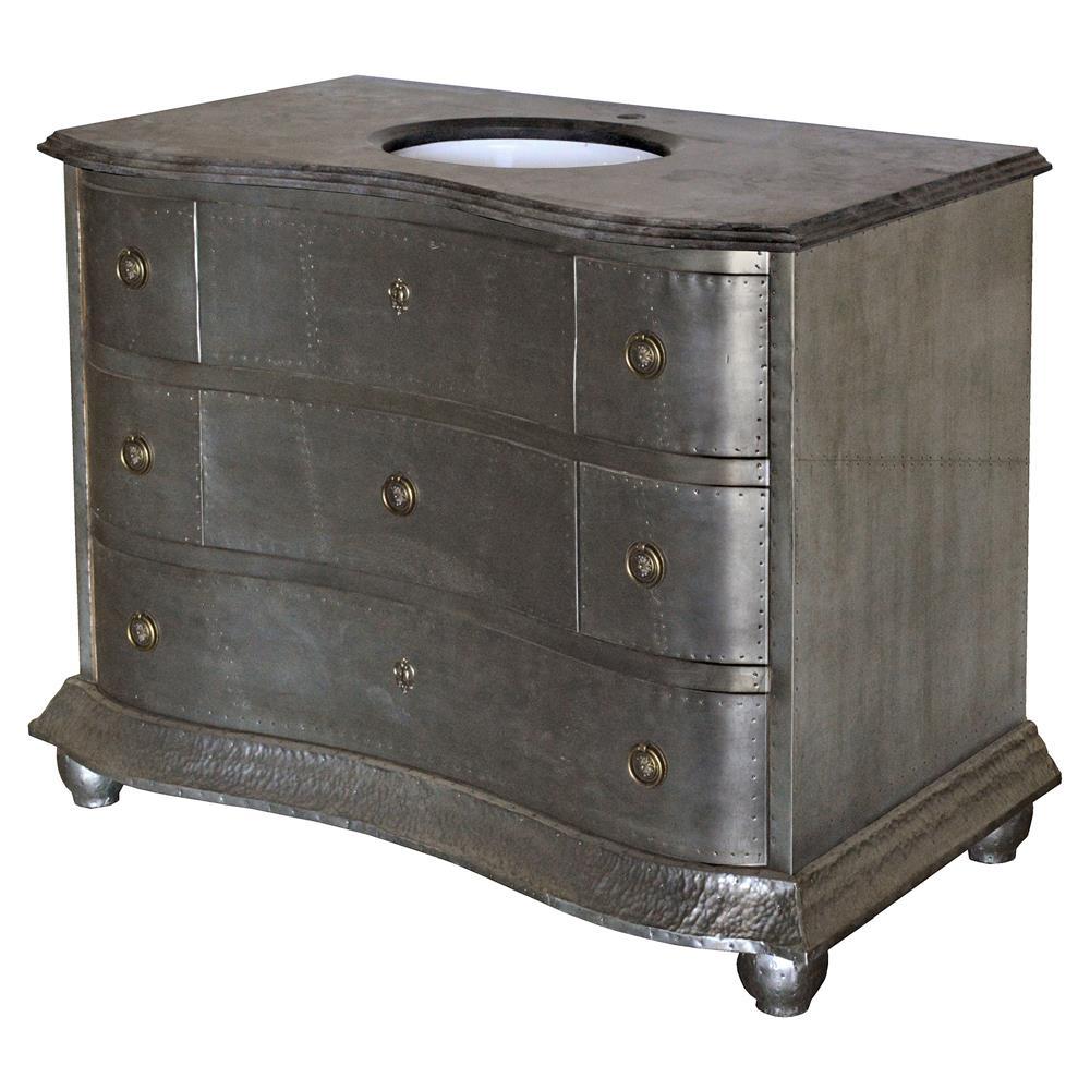 Etonnant Rodin Industrial Loft Curved Zinc Blue Stone Single Bath Vanity Sink |  Kathy Kuo Home