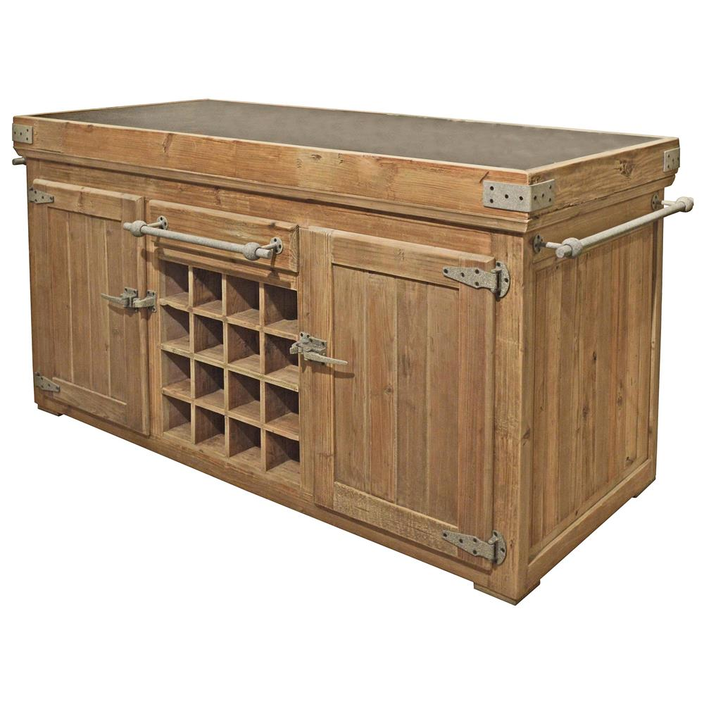 Pine Kitchen Island: Edmond French Reclaimed Pine Stone Rustic Steel 71 Inch