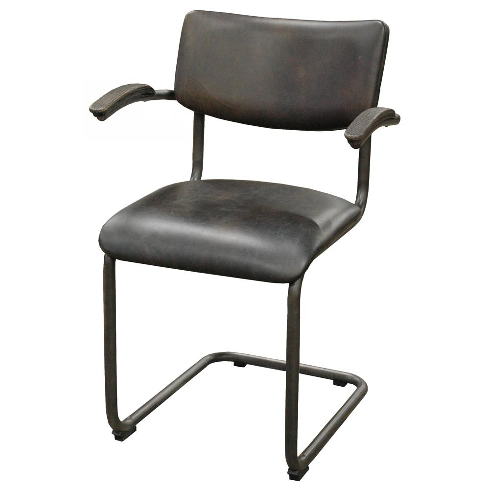 Stephen industrial loft espresso brown leather masculine for Brown leather dining chairs
