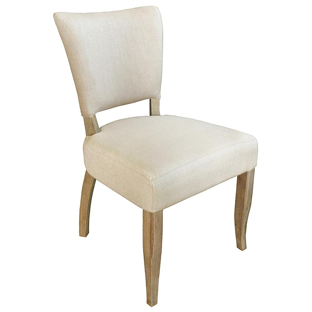 Loire french country light beige linen oak nailhead dining chair set of 2 kathy kuo home - Nailhead dining room chairs ...