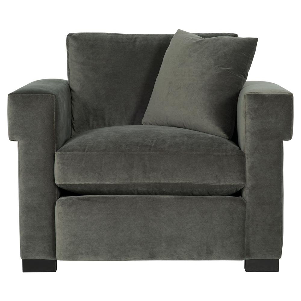 Evan Modern Classic Mocha Wood Dark Grey Armchair | Kathy ...